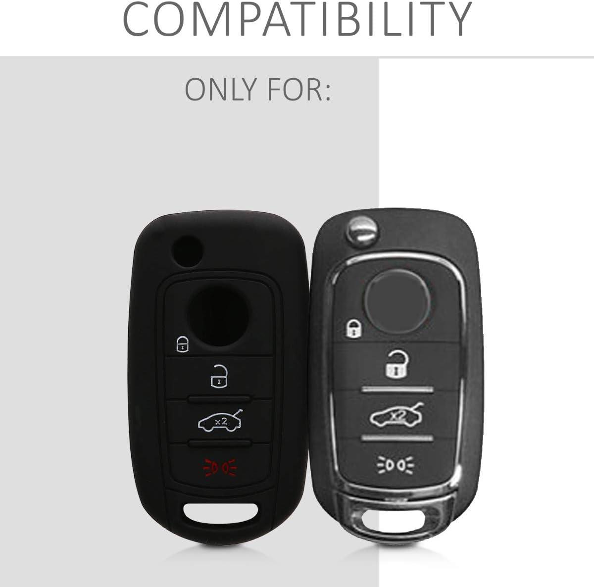 kwmobile Accessoire cl/é de Voiture pour Fiat /Étui de Protection Souple Coque pour Clef de Voiture Pliable Fiat 4-Bouton en Silicone Noir