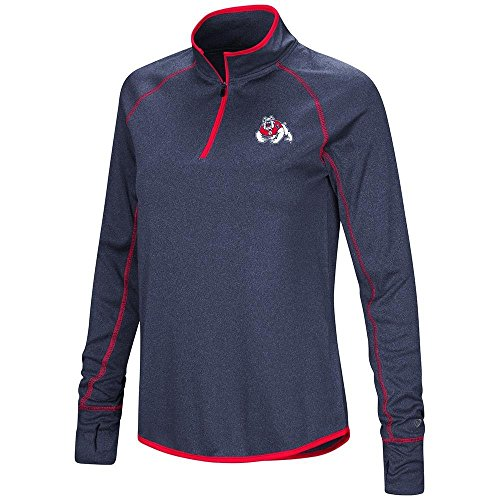 Colosseum Womens Fresno State Bulldogs Quarter Zip Long Sleeve Shirt - L