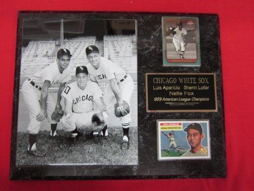 (1959 White Sox Luis Aparicio Sherm Lollar Nellie Fox 2 Card Collector Plaque w/ 8x10 RARE Photo)