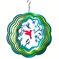 FONMY Wind Spinner Stainless Steel 3D Hanging Garden Decoration for Indoor Outdoor Gradient Blue Color Twins Hummingbird Metal Wind Spinners-12inch