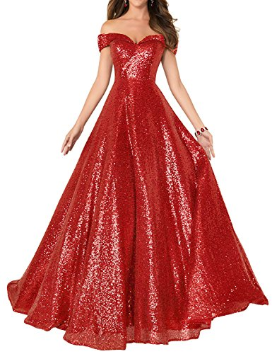 YIRENWANSHA 2018 Strapless Sequined Prom Party Dress for Women A Line Empire Waist Sweetheart Neck Formal Evening Gown Floor Length Elegant Costume SHPD41-S Red Size 2