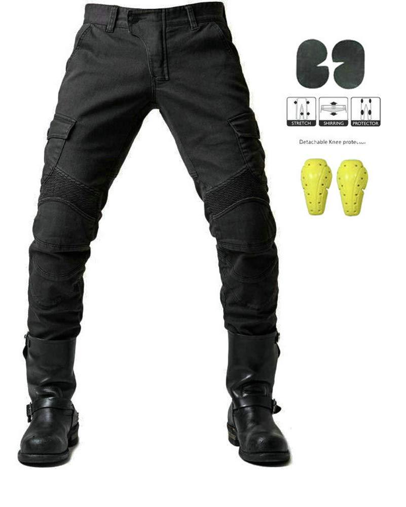 GELing Sportliche Motorrad Hose Mit Protektoren Motorradhose mit Oberschenkeltaschen ,Gr/ün,L