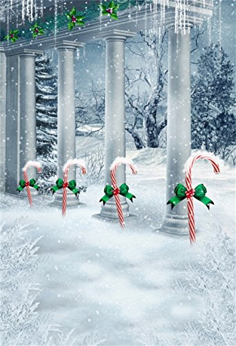 (Laeacco Christmas Theme Backdrop 6.5x10ft Vinyl Photography Background Vintage Palace Frosty Pillars Candy Canes Pines Snowy Tree Wintery Scenic Poster Studio Kids Baby Child Adult Shoot Party Banner)