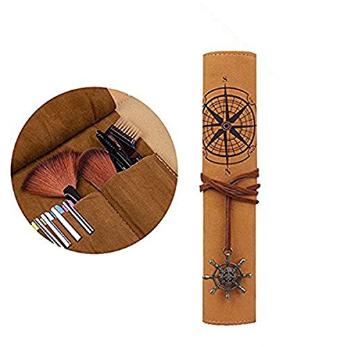 Black Sales Friday Cyber Sales Monday Deals-Pencil Case Retro Leather Treasure Map Pencil Set Pouch Make Up Brush Cosmetic Stationery Storage Organization Art Tool Pouch Bag Wrap Gift for Kids Girls