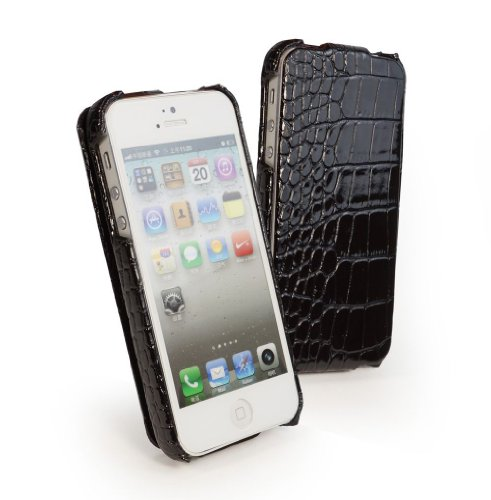 Tuff-Luv Patent Croc Faux Leather Case Cover for The Apple iPhone 5 / 5s - Black