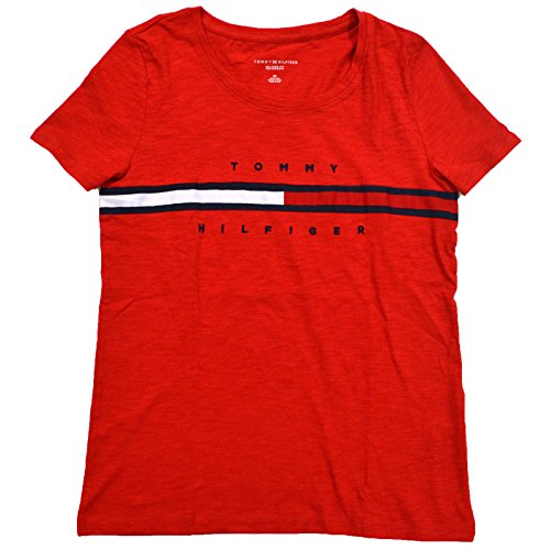 Tommy Hilfiger Womens Big Logo T-Shirt (Medium, Red)
