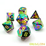 Bescon New Fantasy Iridescent Rainbow Solid Metal Dice Set of 7, Heavy Duty Rainbow Metallic Polyhedral D&D Role Playing Game Dice Set with Bright Yellow Numbers