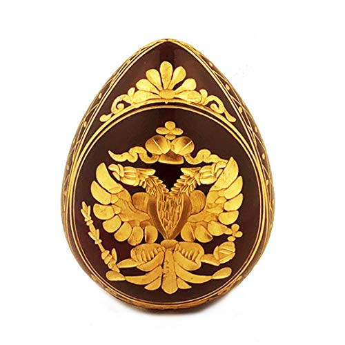(Religious Burgundy Imperial Faberge Style Glass Egg - Double Headed Eagle and Russian Czar Nicholas II - 4 Inch tall)