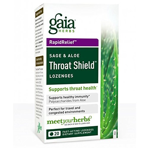 Gaia Herbs, Throat Shield Lozenges, Sage & Aloe, 20 Fast-Acting Lozenges (Lozenges Throat Shield)