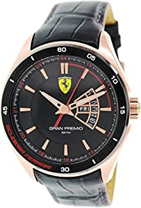 Ferrari GRAN PREMIO - Reloj Analógico de Cuarzo para Hombre, correa de Cuero color Negro