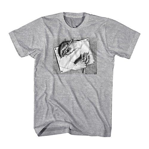 M.C. Escher Men's Drawing Hands Graphic T-Shirt, Sports Grey, (Drawing Hands T-shirt)