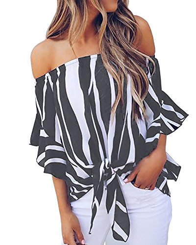 Blanycool Womens Striped Summer Off The Shoulder Tops 3/4 Ruffle Sleeve Sexy Floral Chiffon Tie Knot T Shirt Blouse
