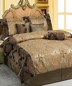 Amazon Com 7 Pcs Queen Size Victorian Jacquard Comforter