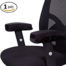 Office Chair Memory Foam Armrest Cover Pads - Soft Touch Fabric - Relieves Elbow Discomfort (2 Piece Set)