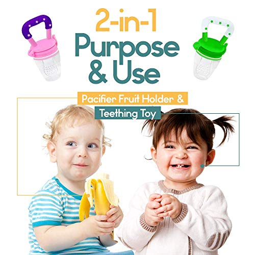 Baby Fruit Feeder Pacifier (2 Pack) - Fresh Food Feeder, Infant Fruit Teething Toy, Silicone Pouches for Toddlers & Kids by Ashtonbee by Ashtonbee (Image #3)
