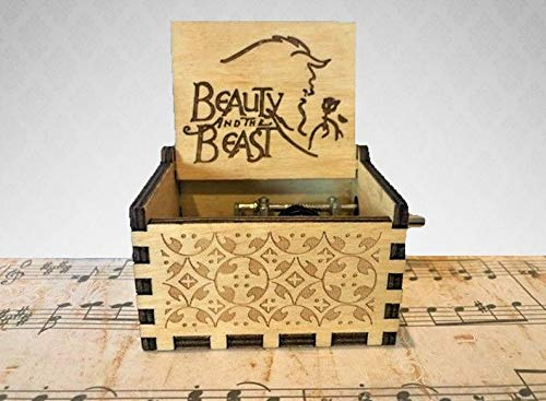PhoenixAppeal Beautiful Carved Wooden Music Box Hand cranked: Lord of The Rings Beauty and The Beast, Star Wars, Frozen, Zelda and Lord of The Rings Theme Gift (Beauty and The Beast)