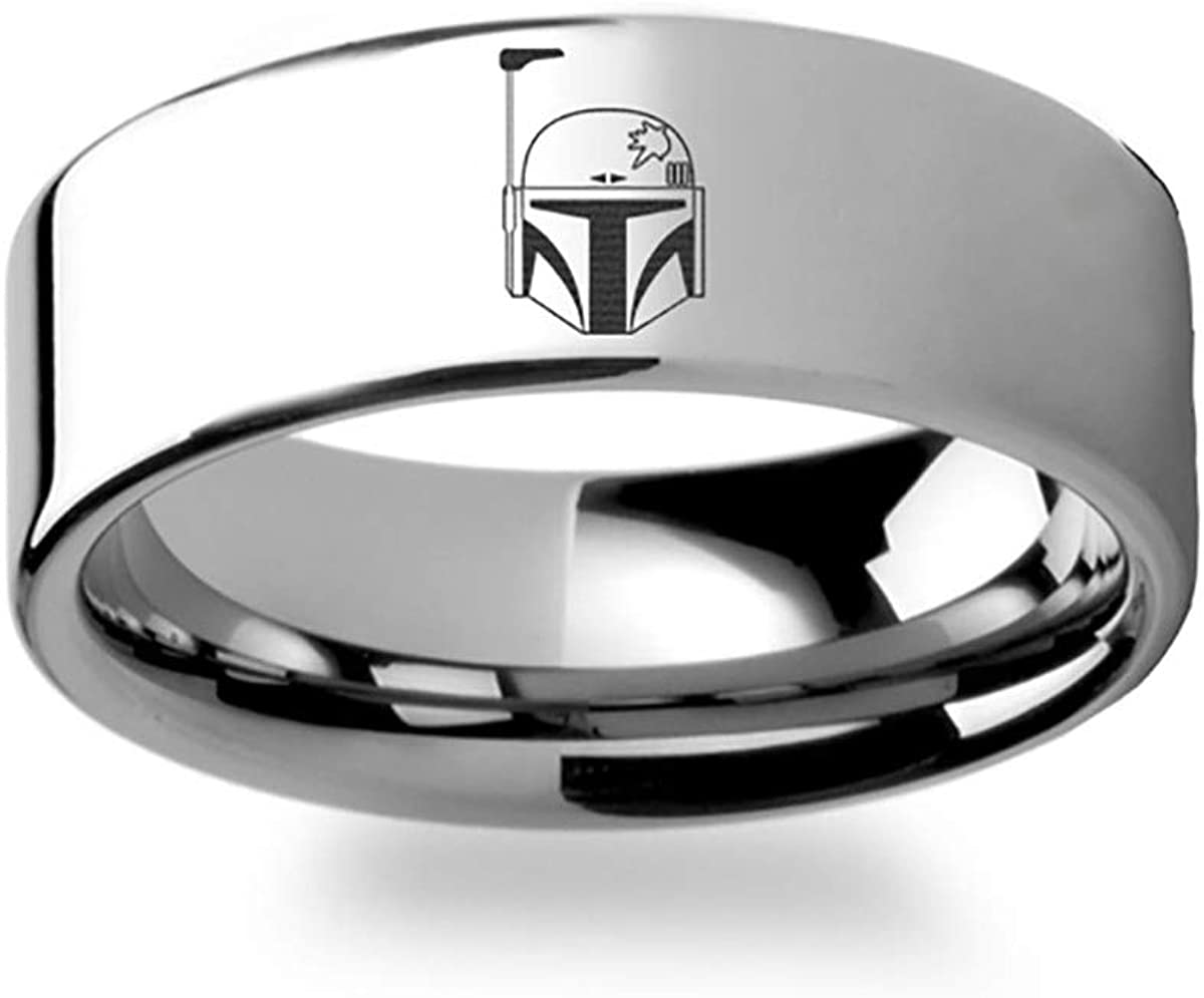 Boba Fett Helmet Symbol Star Wars Polished Flat Ring Tungsten Carbide Engraved Wedding Band Jewelry 4mm 6mm 8mm 10mm 12mm