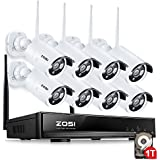 ZOSI 8CH 960P HD WI-FI NVR Security Wireless Network System With 720P 1.0MP Night Vision IP Surveillance Camera Kit CCTV Security System with 1TB Hard Disk & Smartphone Scan QR Code Quick View