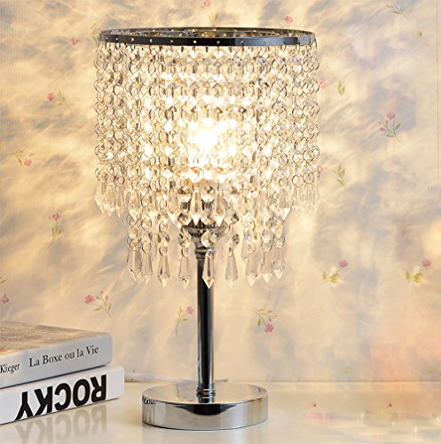 Hile Lighting KU300085 Chrome Round Crystal Chandelier Bedroom Nightstand Table Lamp