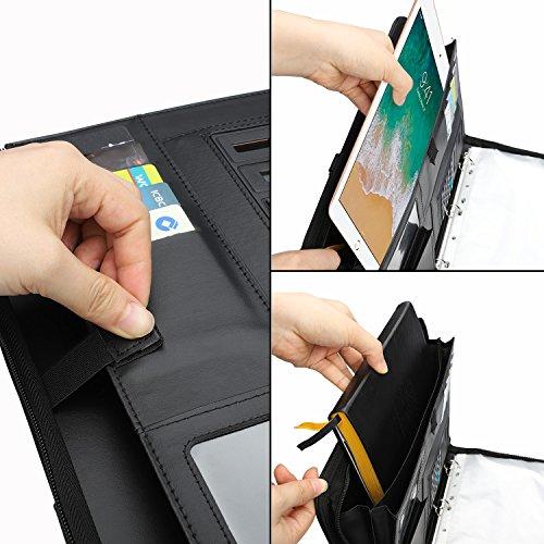 wilbest® porte documents en cuir multifonctionnel dossier de conférence de A4 avec la calculatrice et les poignées… 3