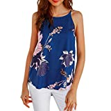 FALAIDUO Women Sleeveless Flower Printed Tank Loose Top Casual Blouse Vest Cold Shoulder T Shirt Camis Tank Vest