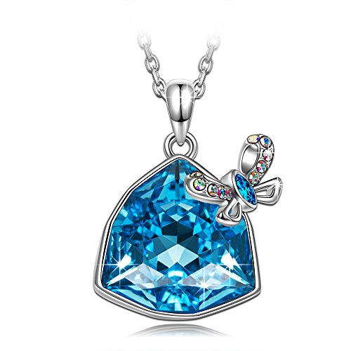 J.NINA Gift for Women Pendant Necklace Jewelry with Blue Sapphire Swarovski Crystals Anniversary Valentines Christmas Birthday Gifts for Daughter Wife Sister Girlfriend