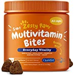 ZESTY PAWS 5-IN-1 MULTIVITAMIN BITES are delicious chewables with over 35 essential vitamins, minerals, and nutrients that provide daily nutritional support for dogs of all ages (including puppies and senior dogs), breeds, and sizes (includin...