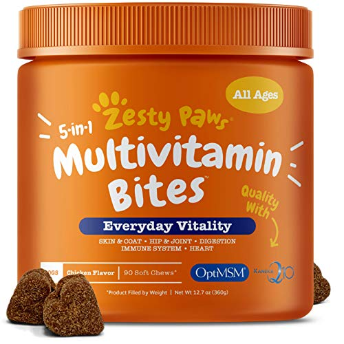 Zesty Paws Multivitamin Treats for Dogs - Glucosamine Chondroitin for Joint Support + Digestive Enzymes & Probiotics - Grain Free Dog Vitamin for Skin & Coat + Immune Health - Chicken Flavor - 90ct ()