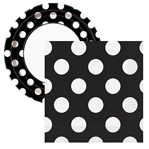 Elegant Entertaining Midnight Black Polka Dot Party Tableware Plate and Napkin Set Serves 16]()
