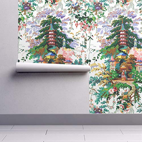 (Chinoiserie Wallpaper Roll - Toile Asian Chinese Painted Colorful Spring by Peacoquettedesigns - 1 Roll 24in x 27ft)