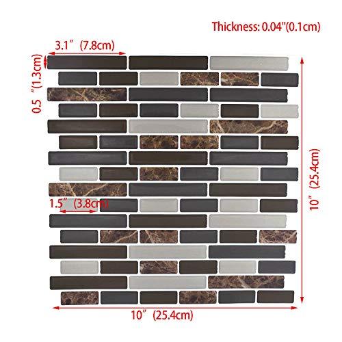 "Peel and Stick Backsplash,HONJAN Renters Groutless Removable Adhesive Vinyl Muretto Brina Backsplash Tiles for Kitchen Bathroom 10""x10"" Pack of 13 (A) by HONJAN (Image #1)"