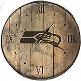 "Rustic Marlin Designs NFL Seattle Seahawks Bourbon Barrel Clock, Team Color, 20"" x 20"""