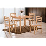 HODEDAH IMPORT Table and 4 Chairs Dinning Set, Beech