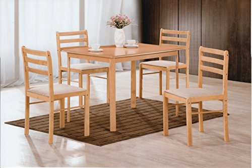 Hodedah 5 Piece Wood Dining Set, Table and 4 Chairs, - Beech Chairs Table