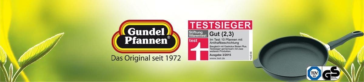 entl/üftbar H/öhe 8 cm Original Gundel GUSS-KASSEROLLE /Ø 24 cm Akku-Therm Boden mit Glasdeckel und Deckelknopf Biotoan-Oberfl/äche