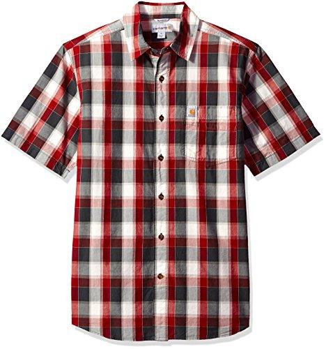 Crimson Plaid - Carhartt Men's Essential Plaid Open Collar Short Sleeve Shirt, Dark Crimson, Small