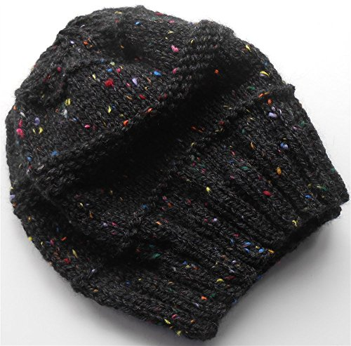 (Black Tweed Hand Knit Hat)