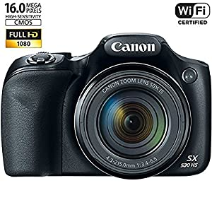 Canon Powershot SX530 HS 16MP Wi-Fi Super-Zoom Digital Camera 50x Optical Zoom Ultimate Bundle Includes Deluxe Camera Bag, 32GB Memory Cards, Extra Battery, Tripod, Card Reader, HDMI Cable & More from Canon