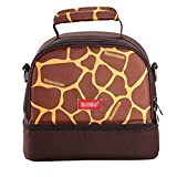 Portable Baby Bottle Insulated Bag Lunch Bag Picnic Handbag for Travel and Stroller (brown)