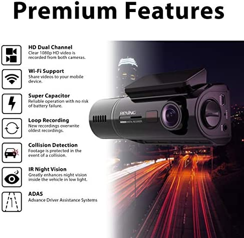 REXING V3 Basic Dual Camera Front and Inside Cabin Infrared Night Vision Full HD 1080p WiFi Car Taxi Dash Cam with Supercapacitor, 2.7 LCD Screen, Parking Monitor, Mobile App