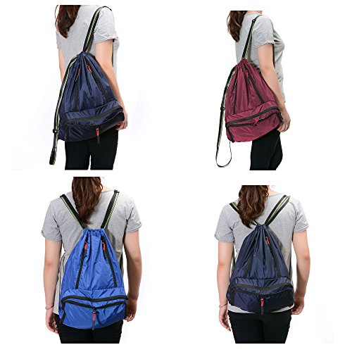 Drawstring Backpack Cinch Sack Foldable Sackpack Lightweight Gym Sack for Summer Swimming Travel Beach Dancing Gym Sports by Yinjue (Image #7)