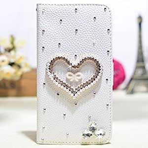 WQQ Diamonds Pearls Crystal Love PU Leather Cover Case with Stand and Card Slot for iPhone 6