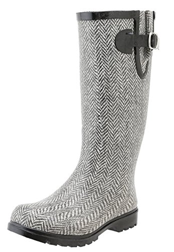 Nomad Women's Puddles Rain Boot,7 B(M) US,Grey/White Herringbone