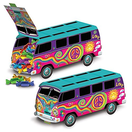 Club Pack of 12 Groovy Colored 60's Bus Party Centerpiece Decorations 9.75