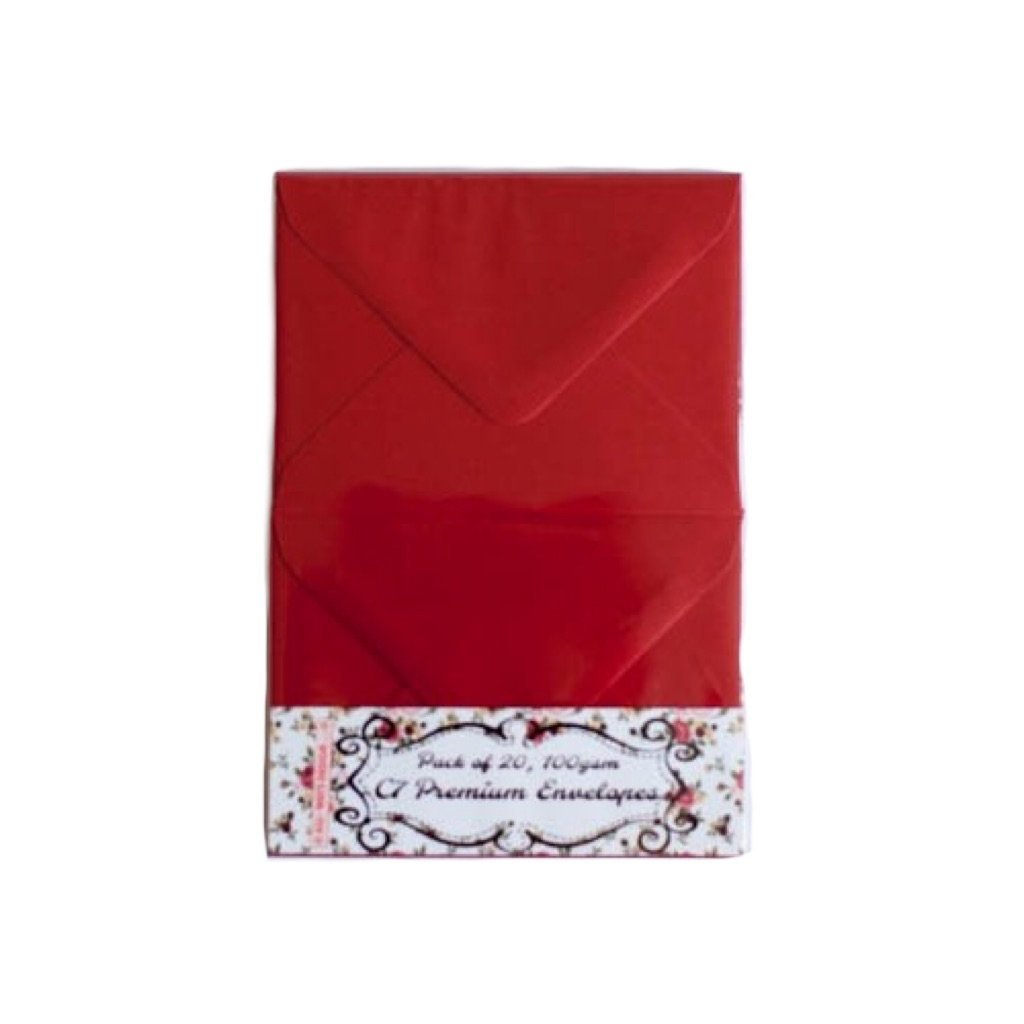 Pack of 20 small C7 Premium Envelopes CRIMSON RED very thick 81mm x 114mm ideal for invitations and greeting card V-flap small size envelopes for gift cards or RSVP All-Ways Design