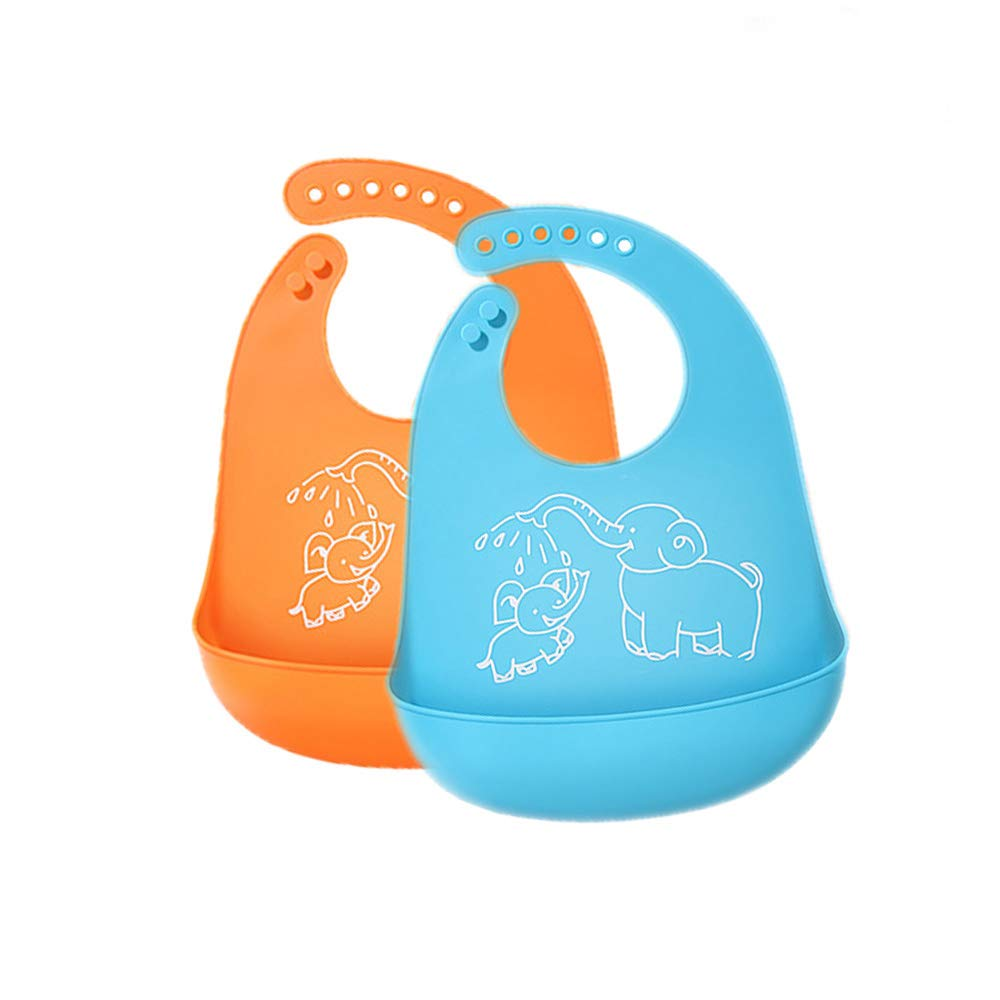 Silicone Baby Bibs, Easy Clean Drool Bibs, Silicone Baby Bib with Food Catcher, Teething Toddler Bibs, Waterproof Baby Bibs, Silicone Bibs for Feeding