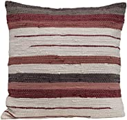 Creative Co-op Square Striped Woven Cotton Blend Chindi Pillow, Multicolor