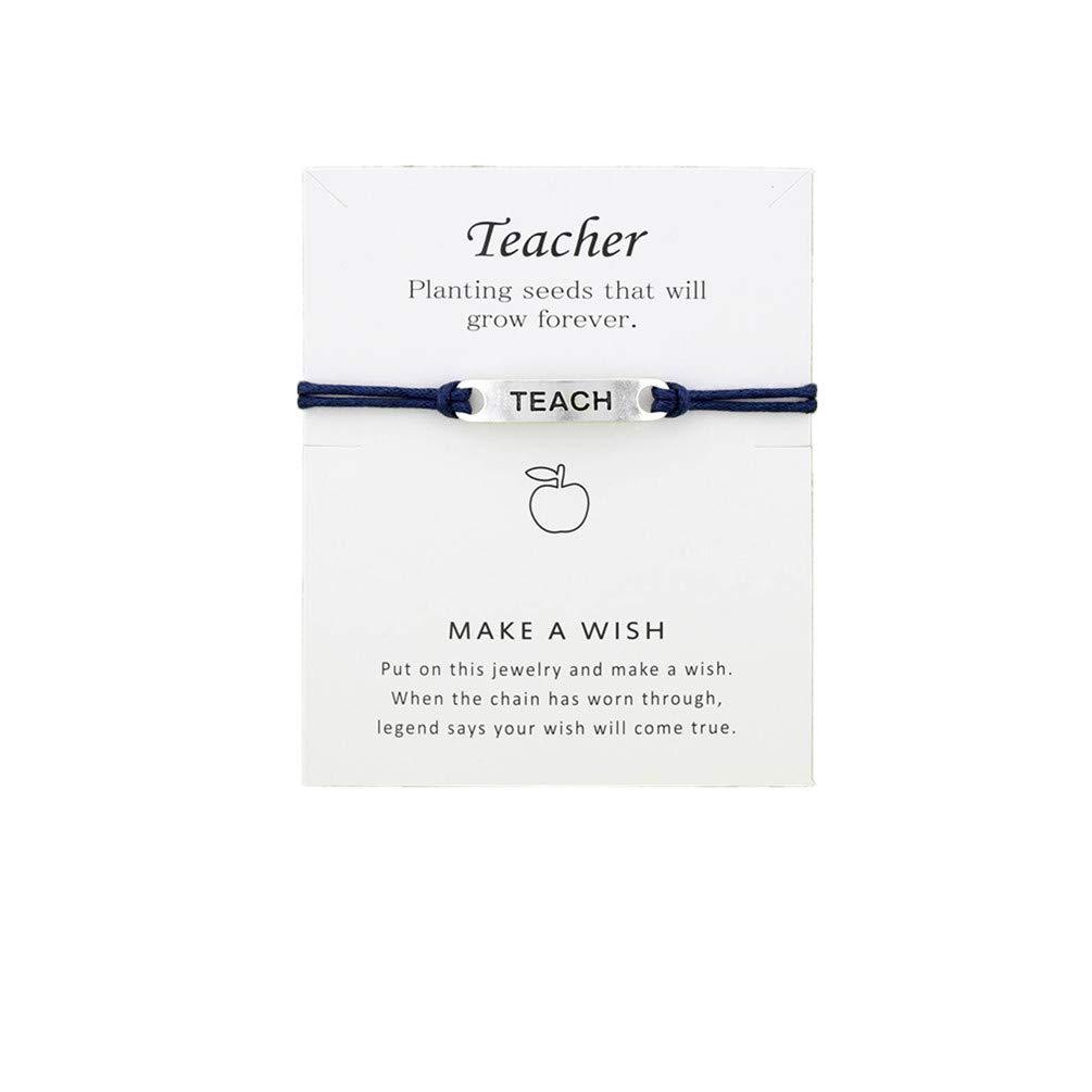 LANWF Blessing Card Bracelets Jewelry Unique Tag Lucky Friendship Teacher Bracelet Teacher's Day Gift,Dark Blue