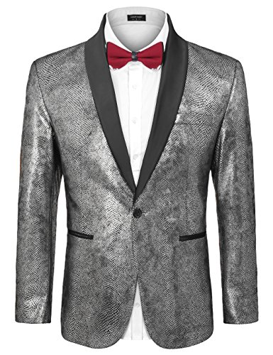 COOFANDY Men's Fashion Suit Jacket Blazer Slim Fit Party Weddings Luxury Tuxedo Gold Silver