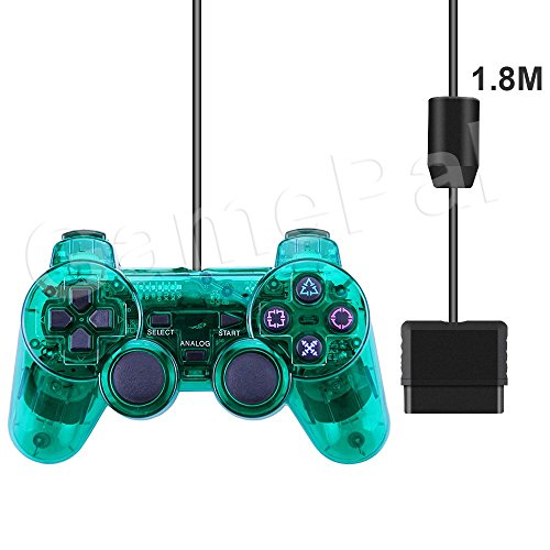 PlayStation 2 Controller, GamePal Double Shock Gamepad for Sony PS2, Wired (Green)